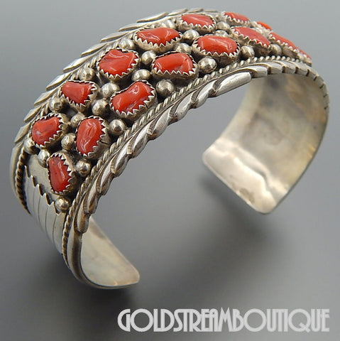 Native American James Shay Navajo vintage sterling silver coral nugget stamped cuff bracelet