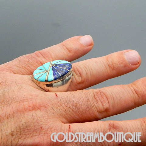 NATIVE AMERICAN VINTAGE ZUNI SIGNED K.E.K. STERLING SILVER TURQUOISE CHRYSOCOLLA INLAY OVAL RING SIZE 10