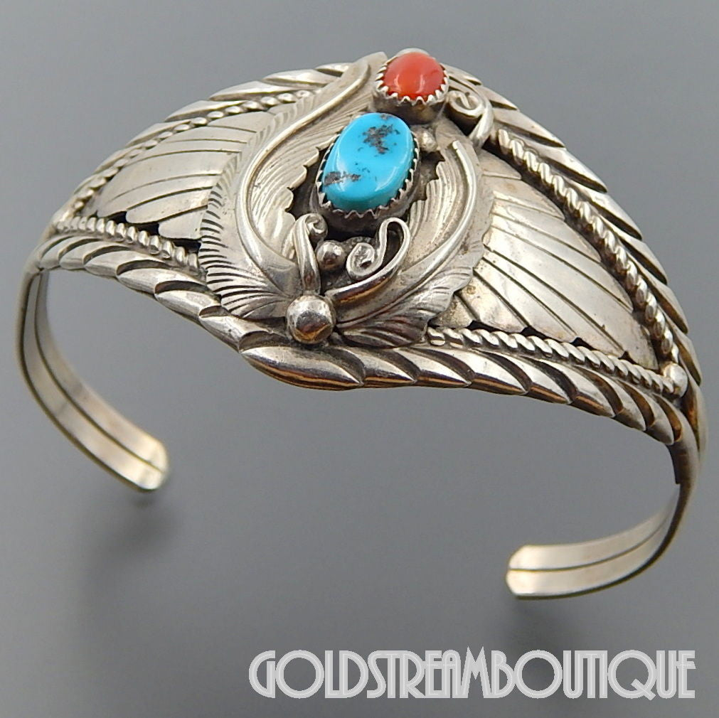 Native American Jason Livingston Navajo 925 silver turquoise coral feathers wide cuff bracelet