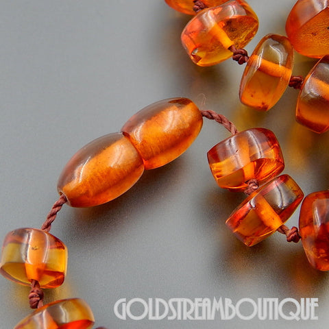 VINTAGE BALTIC HONEY AMBER GRADUATED BEADS NECKLACE SCREW CLASP