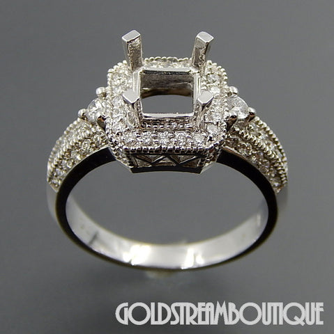 14K White  gold 0.74 Tcw diamonds 1.0-3.0 Tcw diamonds  set engagement ring size 6.5
