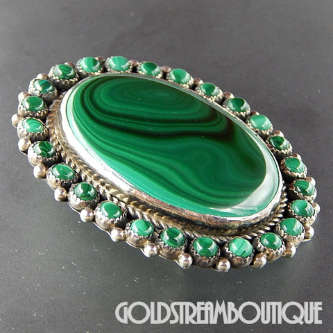 NATIVE AMERICAN VINTAGE NAVAJO SIGNED OD STERLING SILVER MALACHITE LARGE OVAL PIN PENDANT
