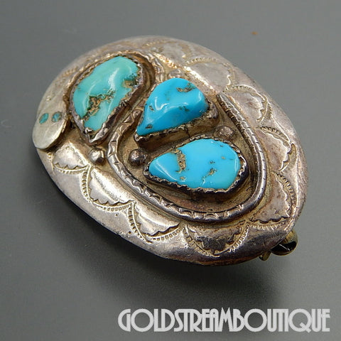 NATIVE AMERICAN EFFIE CALAVAZA ZUNI STERLING SILVER GORGEOUS AMERICAN TURQUOISE SNAKE PIN BROOCH