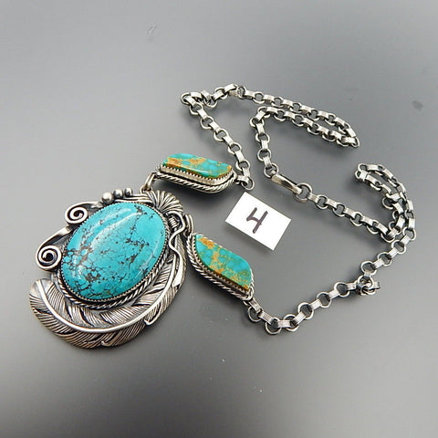 Handcrafted sterling silver american turquoise swirls feather statement necklace