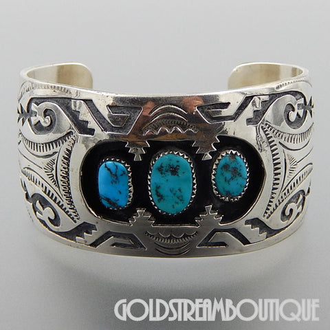 NATIVE AMERICAN VINTAGE JACOB KAHE NAVAJO 925 SILVER ETHNIC OVERLAY TURQUOISE SHADOWBOX CUFF