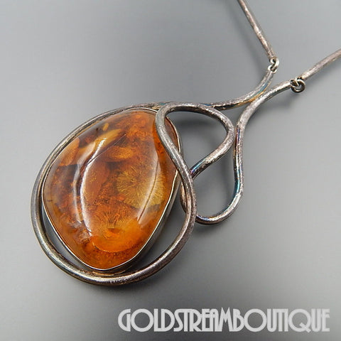 VINTAGE STERLING SILVER MYSTERIOUS BALTIC AMBER TUBE SWIRLS DESIGN NECKLACE 24""
