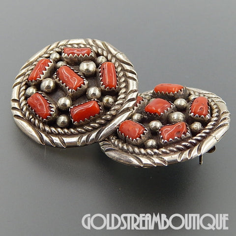 NATIVE AMERICAN VINTAGE NAVAJO STERLING SILVER RED CORAL BEADED CLUSTER ROUND POST EARRINGS