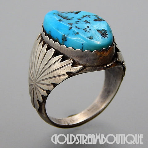 NATIVE AMERICAN VINTAGE ALTHEA LATOME NAVAJO 925 SILVER TURQUOISE OVAL WIDE MEN'S RING SIZE 13.5