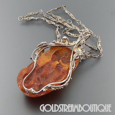 WOW COMPLEX HUGE EGG YOLK HONEY AMBER GRAPEVINE FOLIATE STERLING SILVER NECKLACE