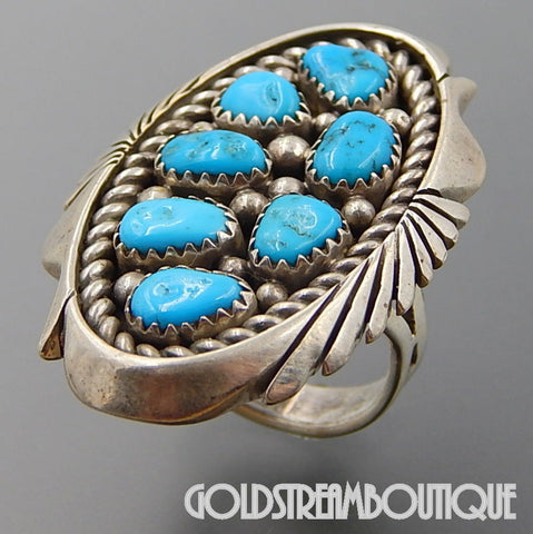 NATIVE AMERICAN KEITH JAMES NAVAJO STERLING SILVER TURQUOISE LARGE CLUSTER OVAL RING SIZE 7.75