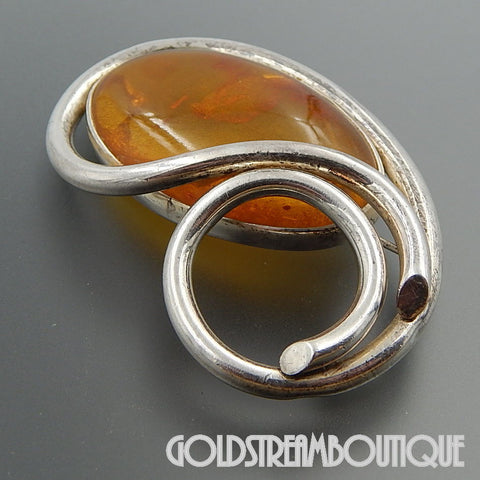 AMAZING STERLING SILVER OVAL SUNNY BALTIC AMBER THICK SWIRLED WIRE BROOCH PIN