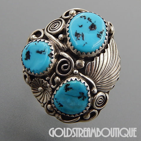 NATIVE AMERICAN GORGEOUS NAVAJO STERLING SILVER THREE KINGMAN TURQUOISE SWIRLS FEATHER RING SIZE 7.5
