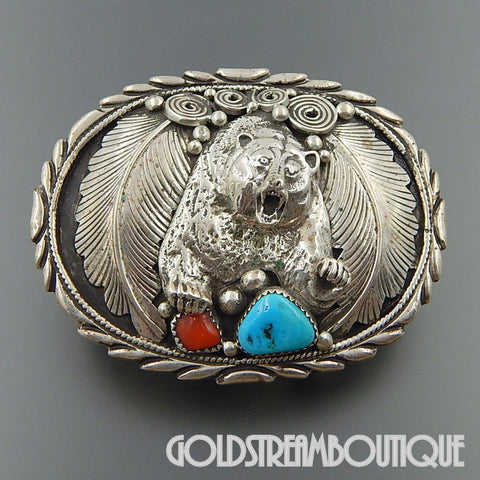 NATIVE AMERICAN VINTAGE NAVAJO TURQUOISE RED CORAL FEATHERS BEAR DESIGN OVAL BELT BUCKLE