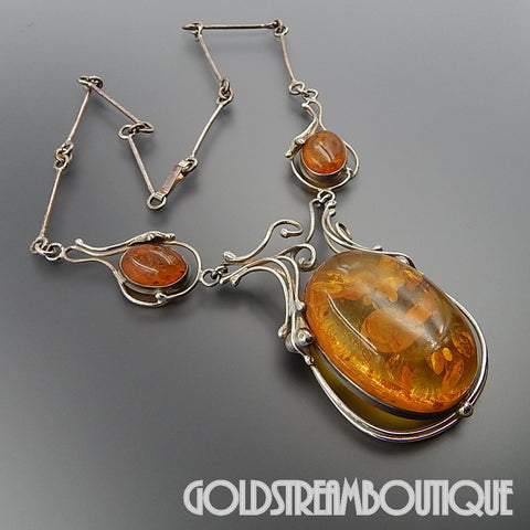 Amazing Sterling silver massive Baltic amber wired design necklace 21""