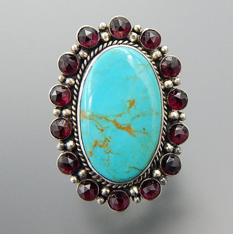 Radiant sterling silver oval American turquoise bohemian garnet statement ring - Size 11.75