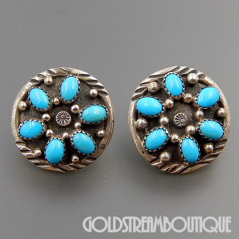 NATIVE AMERICAN B. JOHNSON NAVAJO 925 SILVER TURQUOISE PETIT POINT FLOWER ROUND POST EARRINGS