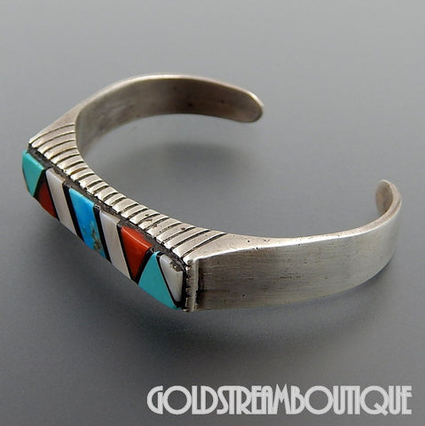 NATIVE AMERICAN VINTAGE NAVAJO SIGNED RAY STERLING SILVER GEMSTONE INLAY HIGH SET CUFF BRACELET