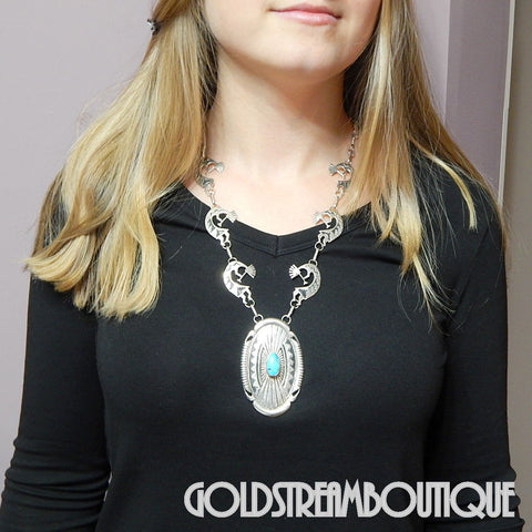 Native American Johnathan Nez navajo sterling silver turquoise overlay kokopelli necklace 23""