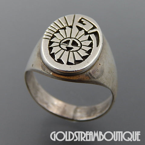 Native American Leah Cleveland navajo sterling silver overlay sun face sun god oval ring size 9