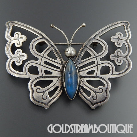 Pre-Eagle Old Mexico 925 Silver Blue Peking Glass Large Butterfly Pin