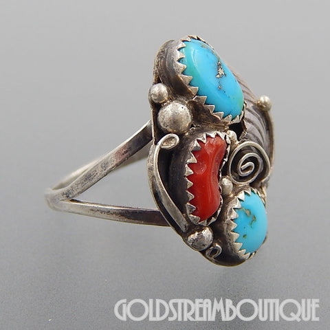 Native American L. Ramone navajo sterling silver turquoise & red coral feather ring - size 8.5