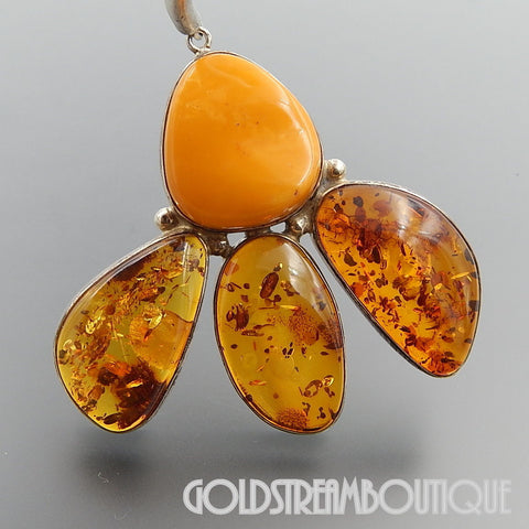UNIQUE STERLING SILVER HONEY AMBER & EGG YOLK BUTTERSCOTCH AMBER NECKLACE
