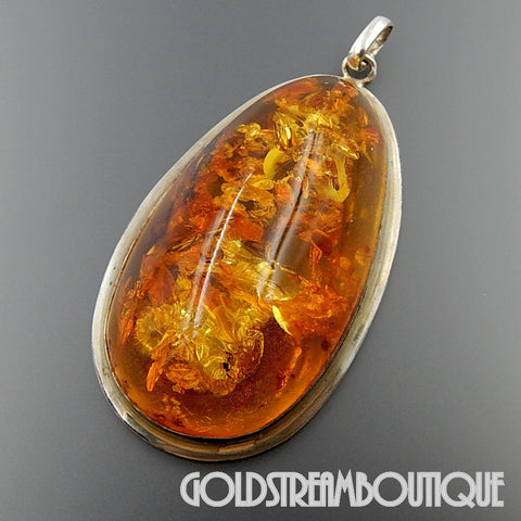 MARVELOUS HUGE BALTIC HONEY AMBER STERLING SILVER BEZEL SETTING PENDANT