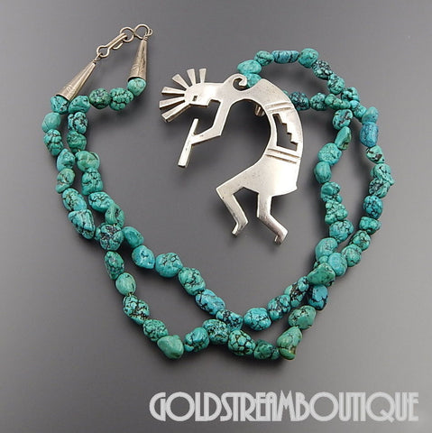 NATIVE AMERICAN VINTAGE NAVAJO STERLING SILVER KOKOPELLI TURQUOISE NUGGET BEADED NECKLACE 12.5""