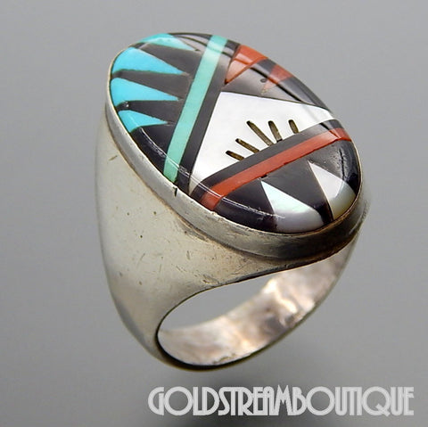 Native American Leslie Gladys Lamy zuni sterling silver mosaic gemstone inlay oval ring size 12