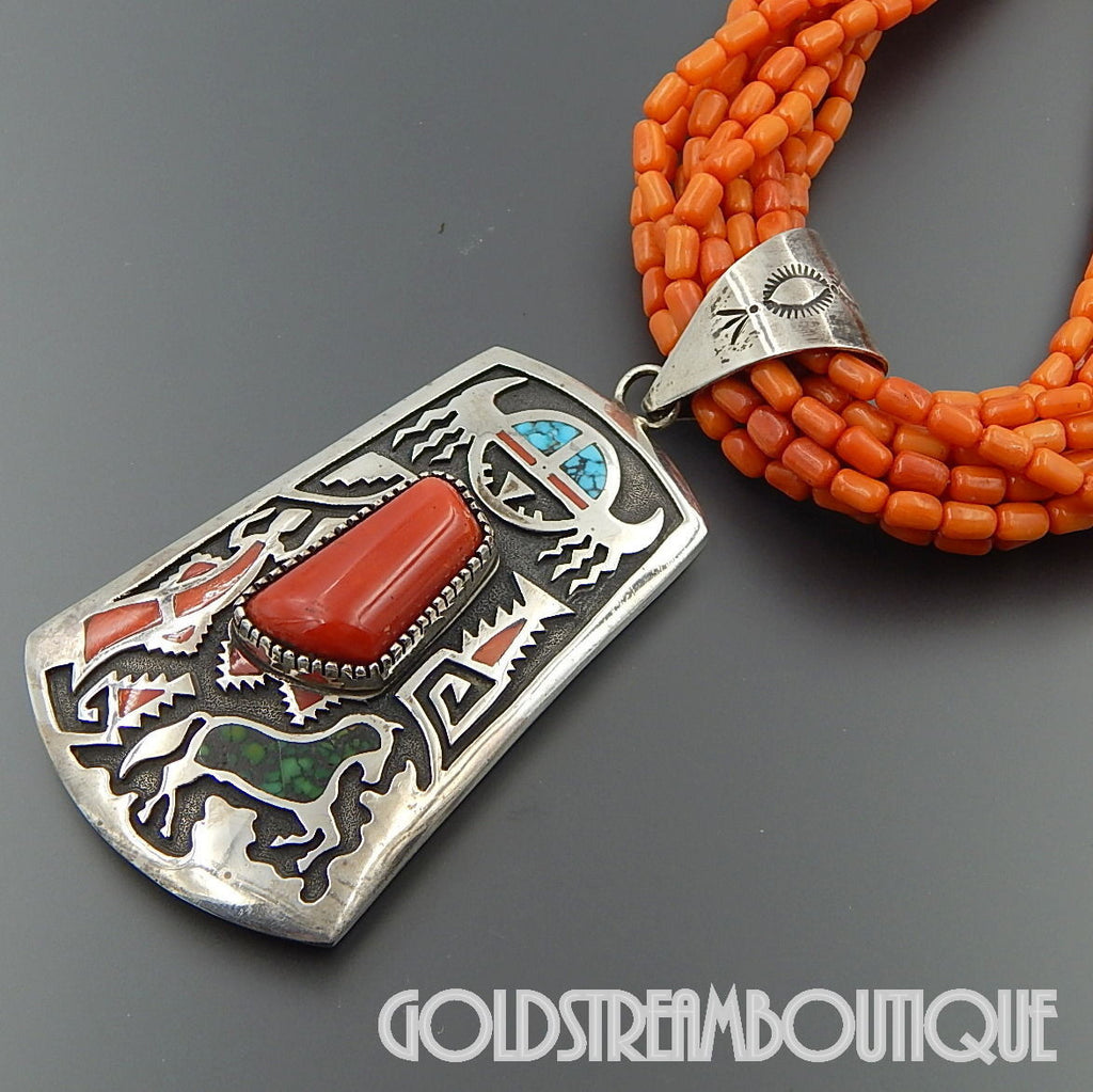 Native American Michael Perry Navajo 925 Silver Red Coral