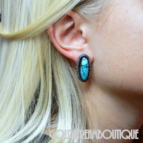 NATIVE AMERICAN SALLY YAZZIE NAVAJO STERLING SILVER TURQUOISE INTRICATE OVAL POST EARRINGS