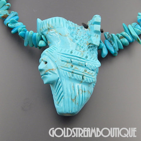 NATIVE AMERICAN ZUNI 925 SILVER TURQUOISE CARVED 3D DESIGN MULTI FACED 3 MAIDEN KACHINA NECKLACE 27.5""