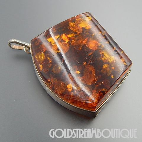 HUGE RICH COGNAC AMBER IN STERLING SILVER SETTING MODERNIST STATEMENT PENDANT