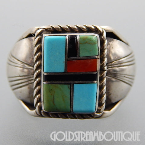RUNNING BEAR SHOP STERLING SILVER MULTI GEMSTONE MOSAIC INLAY MEN'S RING SIZE 12.25