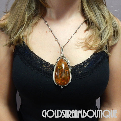 Gorgeous sterling silver massive pear shaped baltic amber long necklace  37""