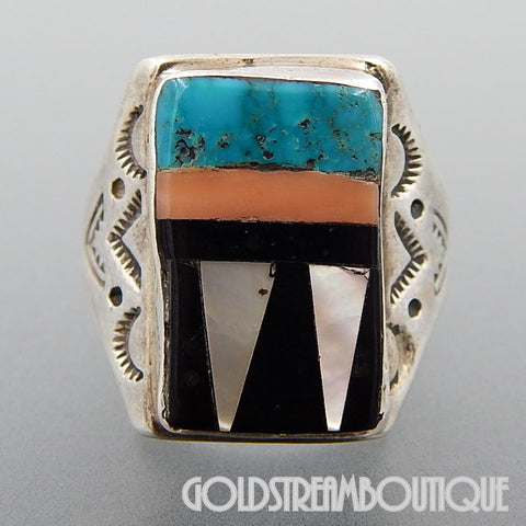 NATIVE AMERICAN VINTAGE ZUNI SIGNED RBL 925 STERLING SILVER GEMSTONE INLAY RECTANGULAR RING SIZE 9.75