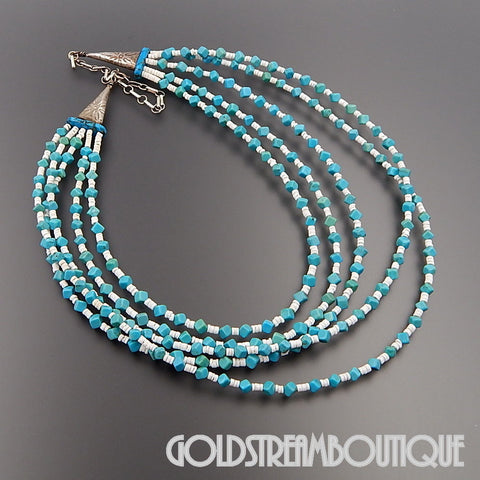 NATIVE AMERICAN NAVAJO STERLING SILVER TURQUOISE WHITE SHELL ALTERNATING BEADS 5 STRAND NECKLACE 21.25""