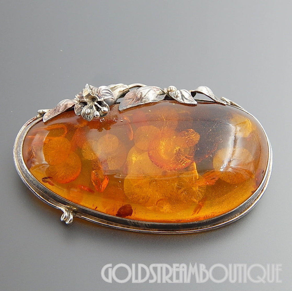 VINTAGE STERLING SILVER MAGNIFICENT BALTIC AMBER FLORAL LARGE BROOCH PIN