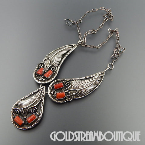 NATIVE AMERICAN VINTAGE VIRGIL BEGAY NAVAJO STERLING SILVER RED CORAL FEATHERS ORNATE NECKLACE