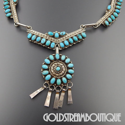 NATIVE AMERICAN NANCY HALOO ZUNI STERLING SILVER TURQUOISE CLUSTER DANGLE ETHNIC NECKLACE 19.75""