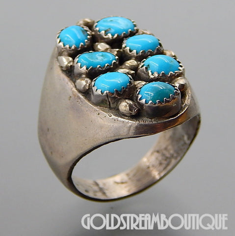 VINTAGE NAVAJO STERLING SILVER 7 TURQUOISE NUGGETS OVAL SOLID MEN'S RING SIZE 11
