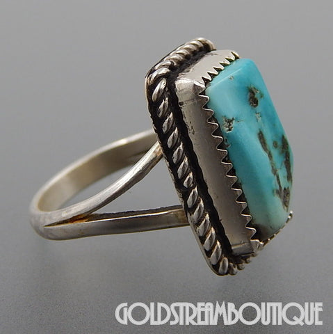NATIVE AMERICAN VINTAGE NAVAJO STERLING SILVER PALE BLUE TURQUOISE ROPE RECTANGULAR RING SIZE 5.75
