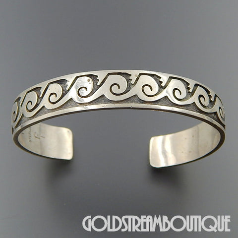 Native American MARVIN LUCAS & EFFIE TAWAHONGVA HOPI STERLING SILVER OVERLAY WAVES CUFF BRACELET