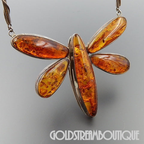 Magnificent sterling silver baltic amber dragonfly massive necklace 20""