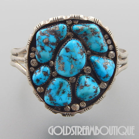 NATIVE AMERICAN VINTAGE WILLIAM G JOHNSON NAVAJO STERLING SILVER TURQUOISE NUGGETS CUFF BRACELET