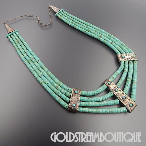 NATIVE AMERICAN SANTO DOMINGO PUEBLO 925 SILVER TURQUOISE BEADED 4 STRAND CEREMONIAL NECKLACE
