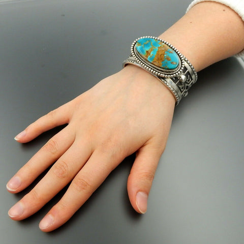 Sterling silver oval American turquoise overlay heavy solid unisex cuff bracelet