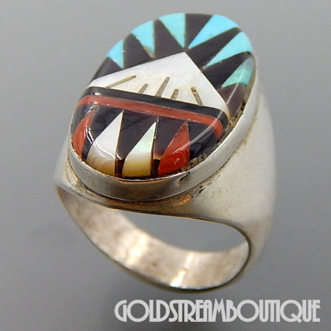 Native American Leslie Gladys Lamy zuni sterling silver mosaic gemstone inlay oval ring size 10.5