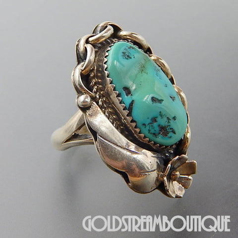 NATIVE AMERICAN VINTAGE STERLING NAVAJO SILVER OVAL TURQUOISE FEATHER FLOWER NAUTICAL RING SIZE 6.5