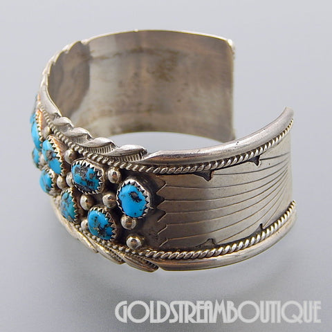 Native American James Shay Navajo vintage sterling silver turquoise nugget stamped cuff bracelet